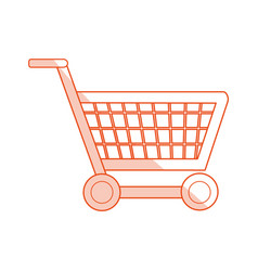 red silhouette shading image shopping cart with vector image
