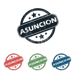 Round asuncion city stamp set vector