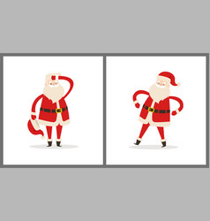 Santa clauses set tired father christmas icons vector