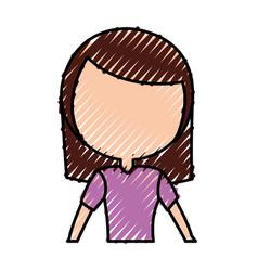 Scribble women upperbody cartoon vector
