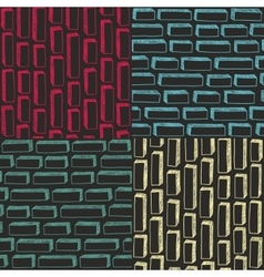 Set of colorful simple patterns with bricks in vector image