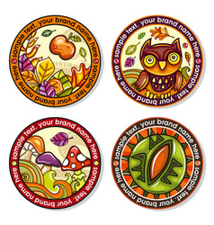 set of seasonal autumn round drink coasters 1 vector image vector image