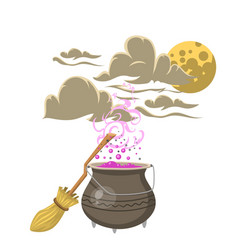 special magic spell pot with broom trick symbol vector image