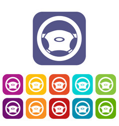 Steering wheel icons set vector