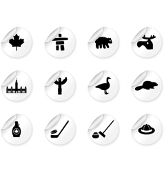 Stickers with Canada symbols vector image