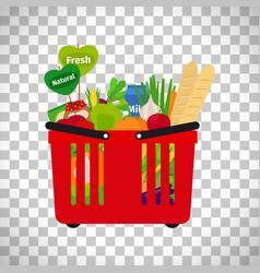 supermarket shopping basket with natural food vector image