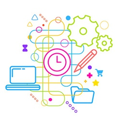Symbols of office working at the computer on vector image vector image