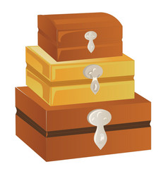 Three wooden chest of different sizes with silver vector