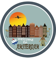 Welcome to Amsterdam - Vintage greeting card vector image