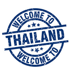 Welcome to thailand blue stamp vector
