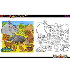 Animal group coloring book vector