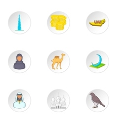 State of uae icons set cartoon style vector