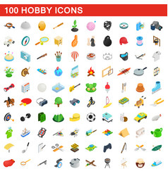 100 hobby icons set isometric 3d style vector image