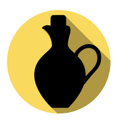 Amphora sign   flat black icon vector