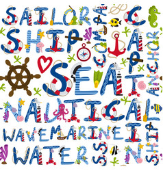 Seamless pattern of nautical words vector