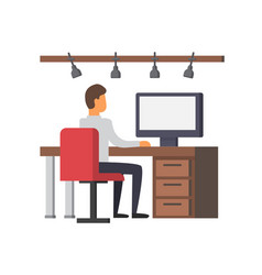 Man working on computer business office vector