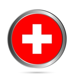 Swiss flag button vector