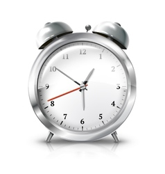 Silver retro alarm clock isolated on white vector image