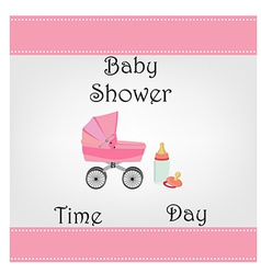 Postcard baby shower for baby girl vector