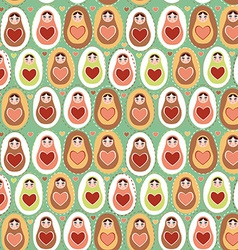 Seamless pattern russian dolls matryoshka mint vector