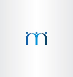 Blue letter m people friends icon vector