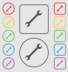 Wrench icon sign symbol on the round and square vector