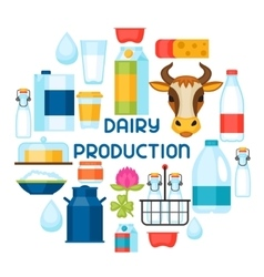 Milk background with dairy products and objects vector