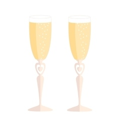 Wedding glasses with champagne over white vector