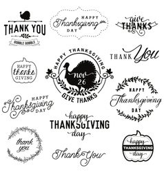 Thanksgiving day design elements badges and labels vector