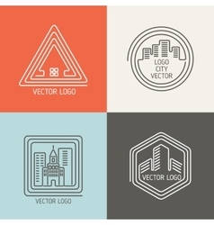 Real estate house linear logos emblems set vector