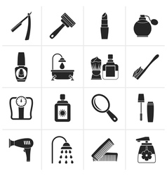 Black body care and cosmetics icons vector