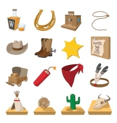 Wild west cowboy cartoon icons vector