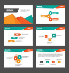 Orange green presentation templates infographic vector