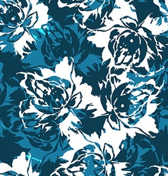 Seamless floral pattern with roses on a blue vector image