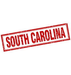 South carolina red square grunge stamp on white vector