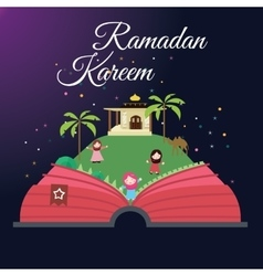 Ramadan greeting cards kids and mosque with starry vector