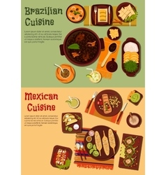 Authentic cuisine of mexico and brazil symbol vector