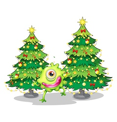 A monster dancing in front of the christmas trees vector