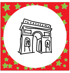 Arc de triomphe landmark of europe doodle hand vector