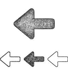 Back icon set - sketch line art vector
