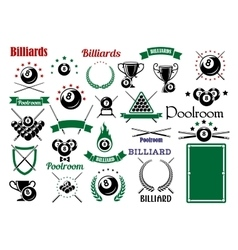 Billiards and pool items for sport game design vector image vector image