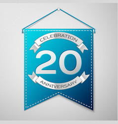 Blue pennant with inscription twenty years vector