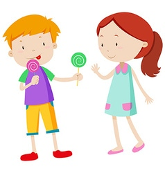 Boy sharing candy with the girl vector