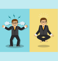 businessman is angry and meditates vector image
