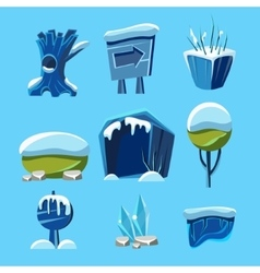 Cartoon Winter Game Nature Elements vector image vector image