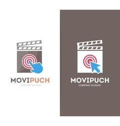 Clapperboard and click logo combination vector
