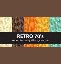 diamond pattern set retro 70s seamless vector image vector image