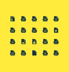 File icons set with pdf archive software and vector