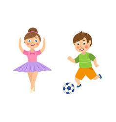 flat boy playing football girl ballerina vector image vector image