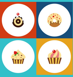 flat cake set of confectionery sweetmeat pastry vector image vector image